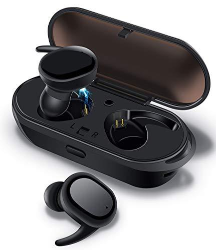 【進化版 Bluetooth5.0】 Ephram Bluetooth イヤホン 完全 ワイヤレス イヤホン 自動ペアリング ブルートゥース イヤホン HiFi高音質 3Dステレオサウンド AAC対応 ノイズキャンセリング ハンズフリー通話 両耳 左右分離型 ワイヤレス イヤホン マイク内蔵 タッチ式 超軽量 5g IPX6 防水仕様 片耳&両耳とも対応 充電式収納ケース付き iPhone/ipad/Android適用 ブラック