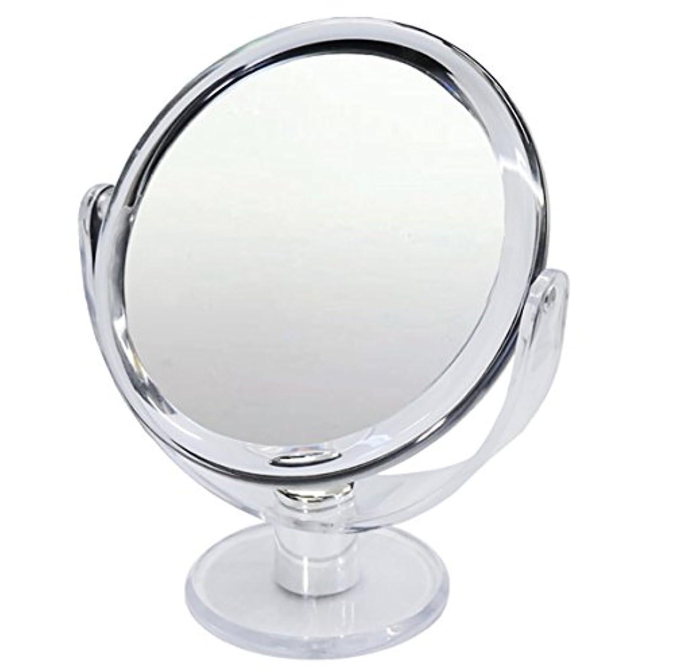 プラスチックくつろぐ委員長10倍 拡大鏡 スタンドミラー 等倍鏡と10倍鏡の両面鏡
