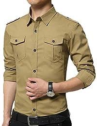 Fly Year-JP メンズドレスシャツスリムフィットロングスリーブミリタリーボタンダウンシャツ