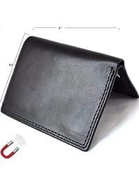 メンズ 本革 ミニウォレット ビンテージ ブラック 磁気 ソフトスキンコイン マネーポケットカードスロット レトロスタイル ラグジュアリー ブラック デイビスケース