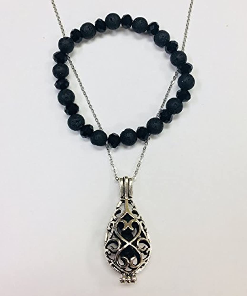 アノイ確率切断するEssential Oil Set - Lava Bead Diffuser Locket Necklace and Lava Bead Stretch Bracelet [並行輸入品]