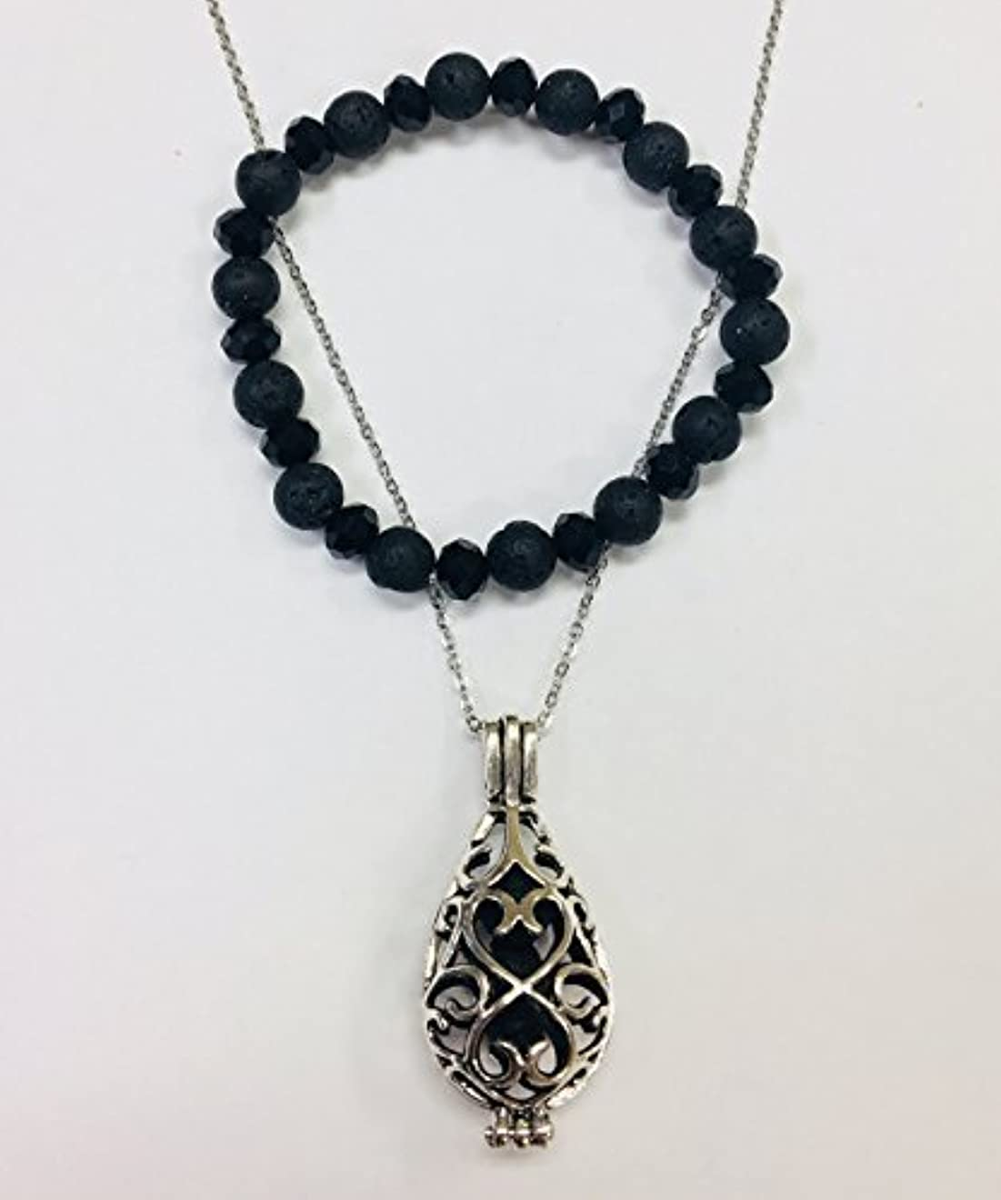 師匠降伏繁栄するEssential Oil Set - Lava Bead Diffuser Locket Necklace and Lava Bead Stretch Bracelet [並行輸入品]