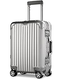 XDJ Life TSAロック 超軽量 8輪マグネシウムアルミニウム 合金スーツケース 鏡面 アルミ ビジネス旅行 ドイツ製透明ケースカバー付き