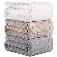AOTIBESO バスタオル 3枚セット 綿100% ふわふわ 大判 3色 バスタオル 柔らか肌触り 吸水速乾 抗菌防臭 重さ約380g/枚 ホワイト カーキ グレー 家庭用、ホテル、スポーツなどに最適 70cm×140cm