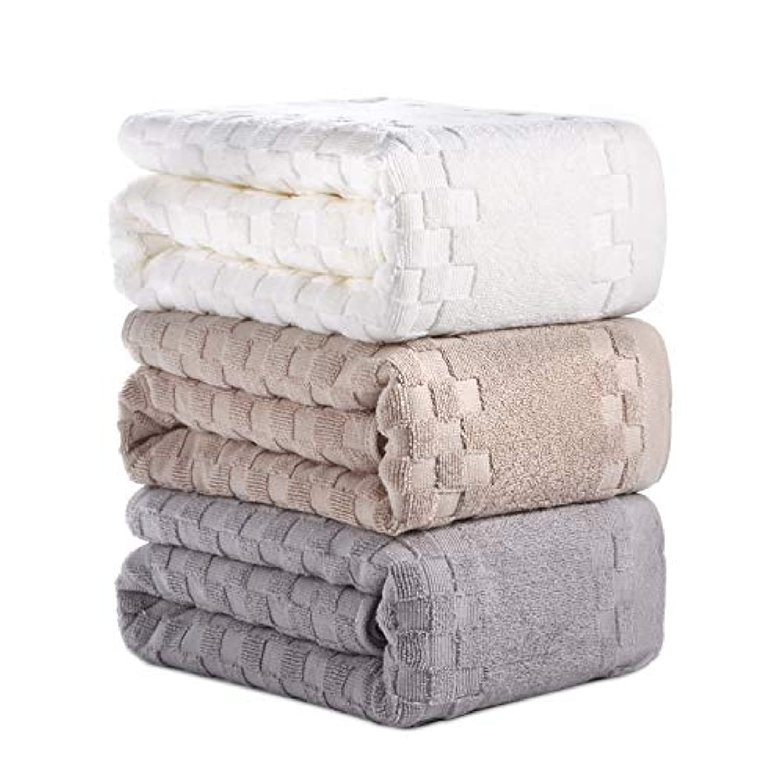 AOTIBESO タオル 3枚セット 綿100% ふわふわ 大判 3色 フェイスタオル 柔らか肌触り 吸水速乾 抗菌防臭 重さ約110g/枚 ホワイト カーキ グレー 家庭用、ホテル、スポーツなどに最適 35cm×75cm
