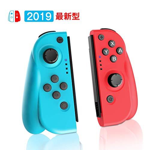[2019最新版]Joy-Con (L) ブルー  (R) レッド プロコン Nintendo Switch コントローラー HD振動 ジャイロセンサー機能搭載 人間工学 スイッチ コントローラー(switch8.1.0対応)