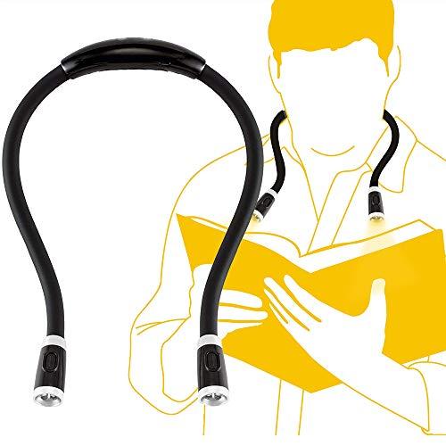 Duonete 地震緊急用 LEDネックライト ブックライト 首掛け 夜間読書 トラベルライト ウォーキング USB充電 フレキシブル 自由自在曲がれる (ブラック)