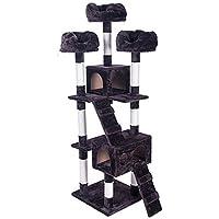 (OSJ) キャットタワー 猫タワー スタンダード式 爪とぎ 麻紐 据え置き ソファーベッド3つ 隠れ家2つ付き 181cm ダークブラウン)
