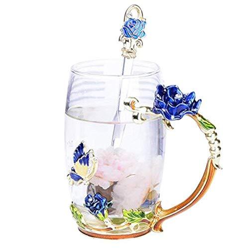 YBK Tech 上品 フラワーグラスマグ ティーカップ 耐熱ガラス クリスタル ラスティーカップ ハンドル付き ホットビバレッジ、アイスティー、ース 姉妹、ママ、おばあちゃん、教師に最適なギフト- 青い蝶と青いバラ (高い (350ml) ギフトボックス付き)