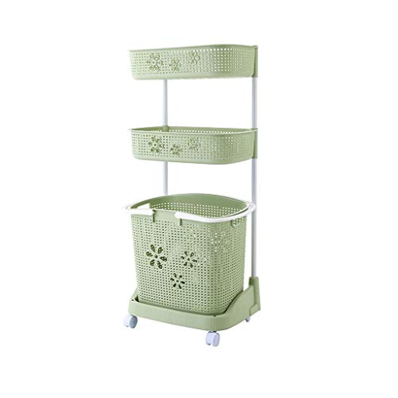 バスルームストレージシェルフ、ハンパー、バスルーム3層洗濯機ストレージラック、フロアスタンドストレージバスケット (色 : Green)