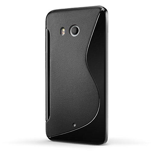 HTC U11 HTV33カバー【SLEO】HTC U11 HTV33カバー 半透明 TPUケース 触覚シリーズ 携帯にフィット高品質 耐スクラッチシェル HTC U11ケース(ブラック)