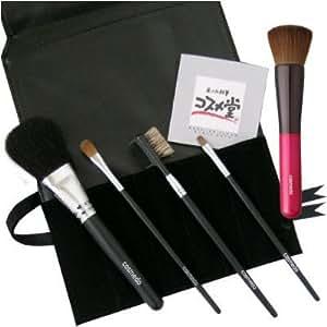 熊野筆 匠の化粧筆 コスメ堂 メイクブラシ スターターセット プラス ( 熊野筆 5本 + ブラシケース<黒> のセット )