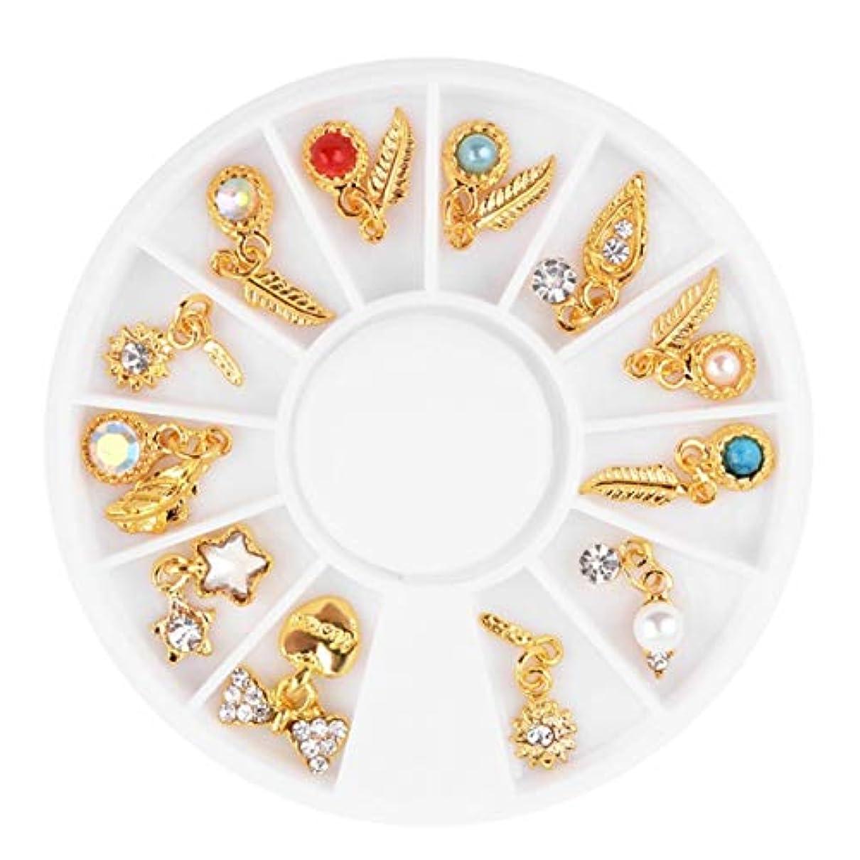 スイング不合格拒絶するQuzama-JS よく作られた釘芸術3 D混合形ラインストーン宝石石装飾合金宝石ディスクタッセルペンダント葉羽ターンテーブル(None Picture Color)