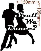 カッティングステッカー Shall We Danse? (ダンス)・2 約150mm×約195mm ブラック 黒