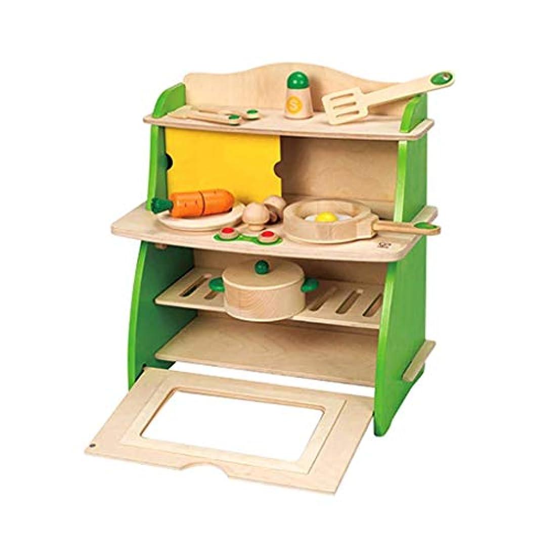 捕虜風景コークスキッチン玩具木製玩具クッキングセットキッチンセットキッチンプレイセットシミュレーションクッキングおもちゃバービーキッチンプレイセットおもちゃ3歳以上昔の子供のためのギフト ( Color : GREEN , Size : 40*23*40CM )
