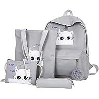 School Bags for Girls, Kids Backpack Built-in Handbag Inclined Shoulder Bag and Pen Bag, Elementary/Middle School, Unisex