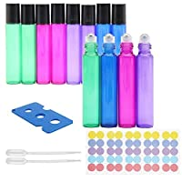 Sky-Welle Multi-Colors Refillable Empty Roller Ball Glass Bottles for Essential Oils (12x 10ml) [並行輸入品]