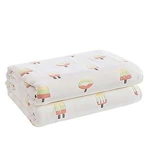 Hanacat 6重ガーゼケット ダブル 綿100% 肌掛け ふわふわ 吸湿性 洗えるタオルケット アイスクリーム柄(200×230cm)