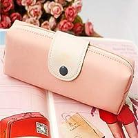 YCDZ STOREファイルフォルダー PUレザー口ひげパターンスクールペンシルバッグ学用品収納バッグ (色 : ピンク)