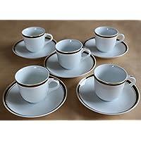 エールネット キッチン用品?食器/食器?グラス?カトラリー/マグカップ?ティーカップ/カップ_ソーサー 白 10.6cm×巾7.5cm×高さ6.8cm エルウェア MR コーヒー碗皿 5客セット 強化磁器