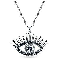 悪を開き目に女性のためのペンダントブラック立方ジルコニアリング CZ スターリングシルバー 16 インチまつげのネックレス