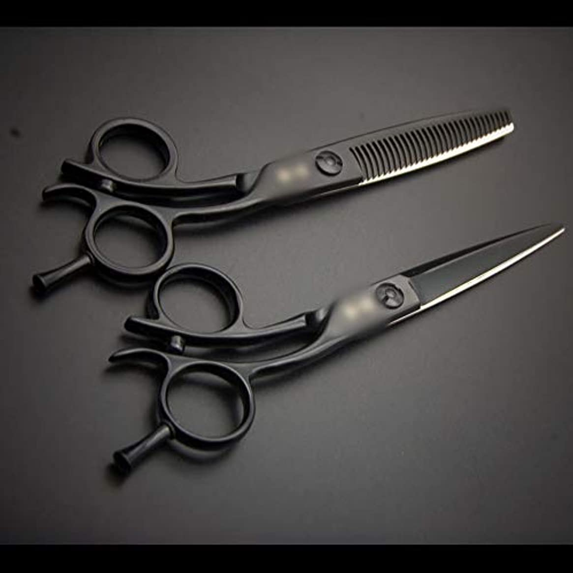 生産性レーザモジュール6インチ美容院プロフェッショナル理髪セット、歯のせん断+フラットせん断セット モデリングツール (色 : 黒)