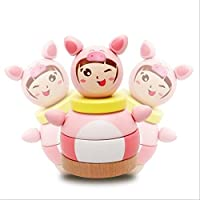 Keaner新生児幼児Roly - PolyおもちゃCartoonピンクPig幼児用タンブラー建物ブロック教育玩具子供用祭ギフト(ピンク)