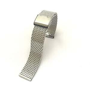 腕時計 ステンレス メッシュ ベルト ミラネーゼ メタル ブレス バンド 18 20 22 24mm ブラック シルバー バネ棒 バネ棒はずし 付属 / お手入れ手袋 セット (シルバー 18 mm)