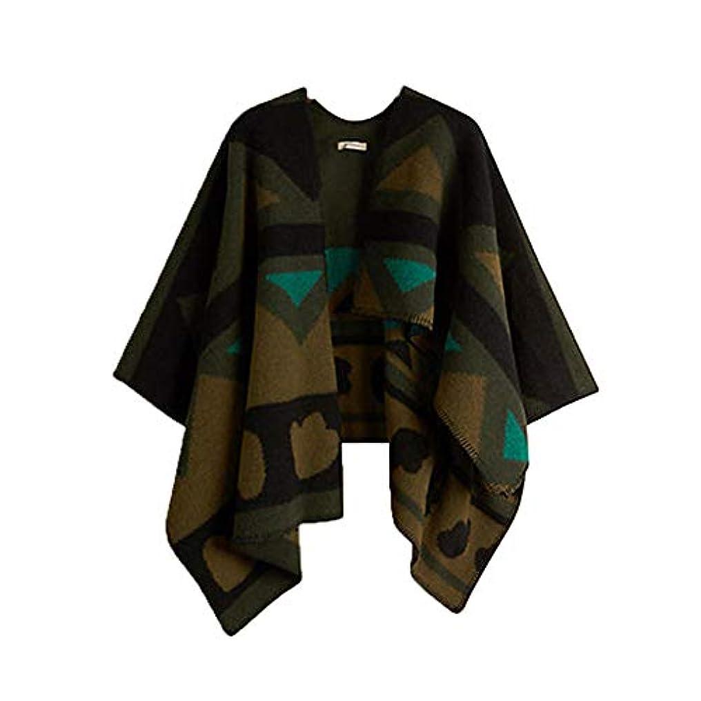極地会計適応する秋と冬のファッション暖かいショールのスカーフ緑色の色のマッチングの皮のショール女性のため (色 : Geometric red)