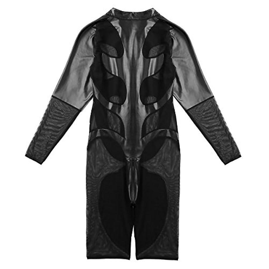 マークダウン目に見える自動的に(イーエフイー)EFE メンズ タイツ フェイクレザー メッシュ ロングスリーブ ジッパー レオタード ボディースーツ ジャンプスーツ コスチューム衣装 ブラック