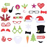 BESTOYARD 28本のクリスマスフォトブースの小道具パーティー写真の写真アクセサリーDIYキット