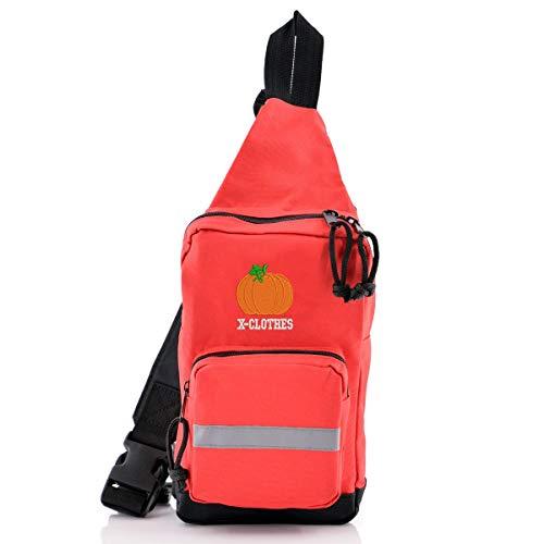 [X-CLOTHES] ボディバッグ ワンショルダー バッグ 斜め掛けバッグ ビッグ ワンポイント 刺繍 グッズ キッズ レディース メンズ カボチャ かぼちゃ 南瓜 フリーサイズ 赤 RDxBK かぼちゃ2