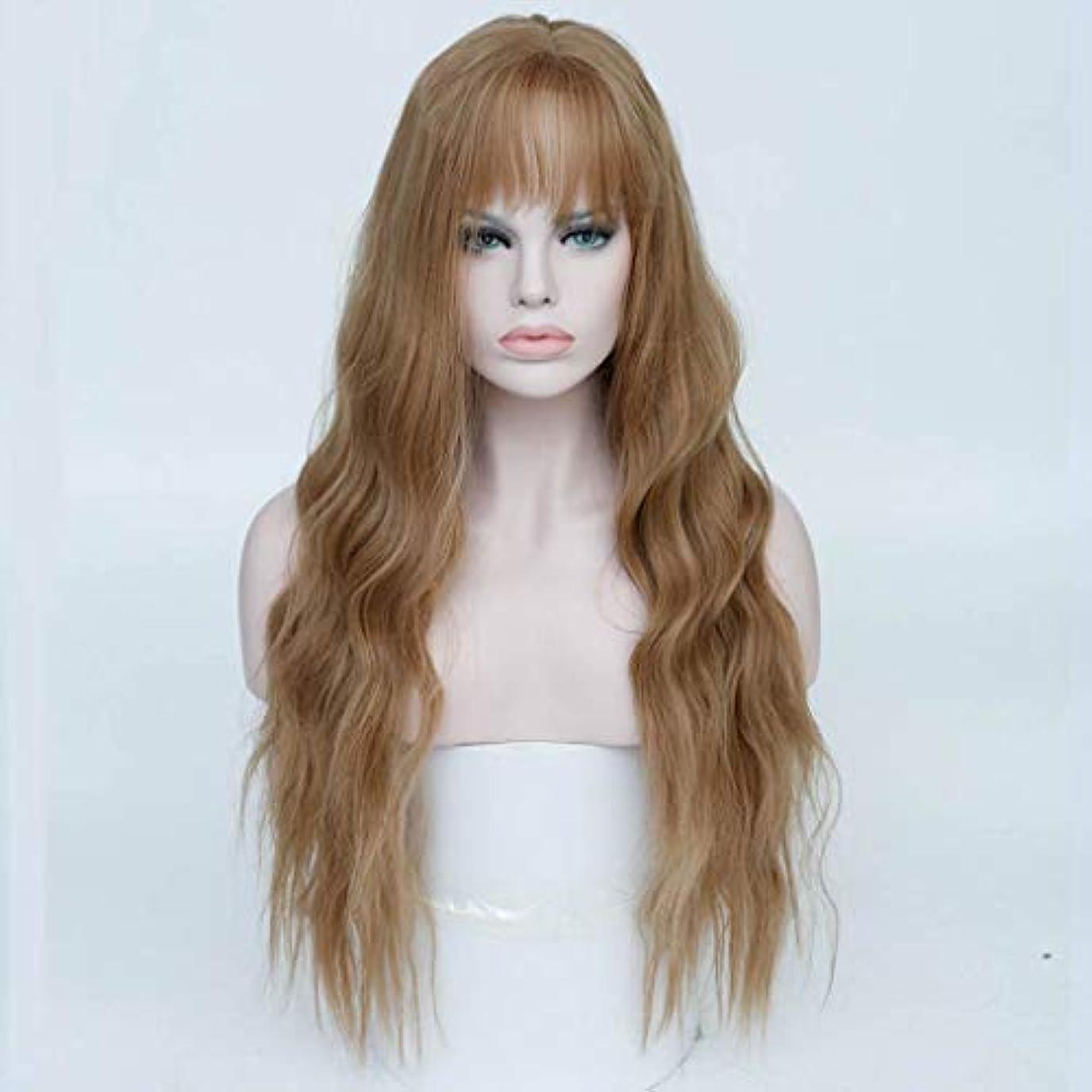 効果局失速リザイ 女性の耐熱性かつら、前髪の自然な波の長い巻き毛の耐熱性合成かつらを持つ女性ストロベリーブロンドオンブルライトブロンドのかつら26インチ