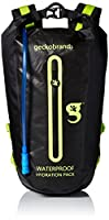 Geckobrands Waterproof Hydration Backpack with 3 L Water Bag, Black/Green by geckobrands