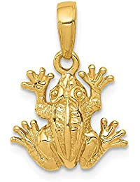 14k Yellow Gold 2 D Frog Pendant Charm Necklace Animal Man Fine Jewelry Gift For Dad Mens For Him