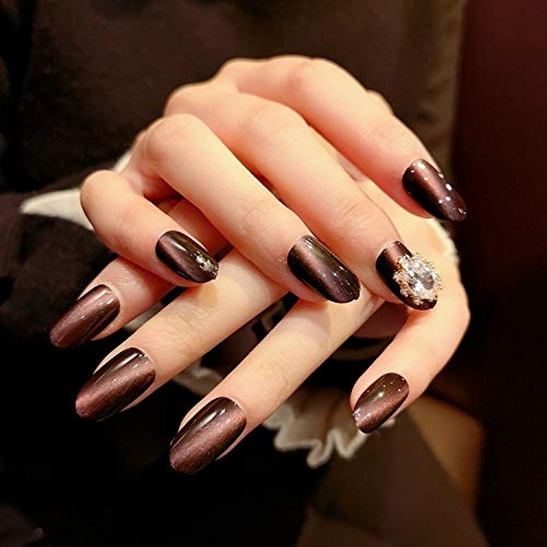 織る恐怖症免疫するVALEN Nail Patch Ins人気のある 24個入り ネイルチップ ジェルネイルの光疗法 無地ネイルチップ 猫目石 手作りネイルアートチップ