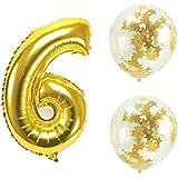 Big Hashiお誕生日パーティー 風船 飾り付け バルーンx2個 ゴールド 数字6バルーン x1個 風船セット(sz-06)