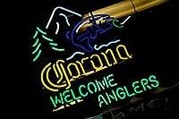 """コロナライトWelcome AnglersネオンSign 24"""" x20""""インチ明るいネオンライトfor Mancave Beer Bar Pubガレージ"""