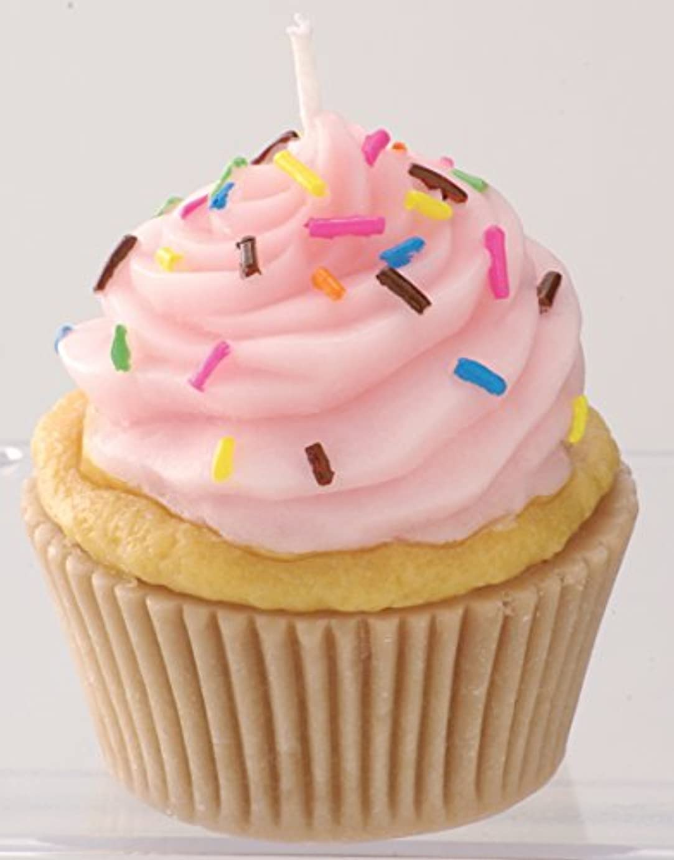 これまで抽出蜂カメヤマキャンドルハウス 本物そっくり! アメリカンカップケーキキャンドル ストロベリークリーム ストロベリーの香り