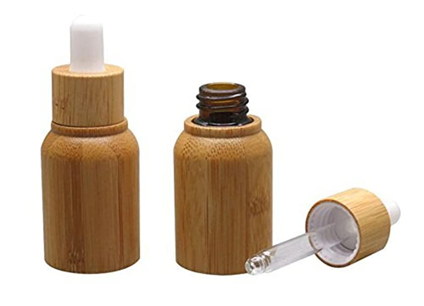 時系列なしでアンビエント1PCS 10ML 10G Bamboo Glass Eye Dropper Bottle with Pipettes Cosmetic Sample Container Bottles for Essential Oil...