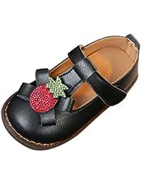 Vacally 子供 男の子 女の子 ラインストーン イチゴ 弓 ノンスリップ シングルシューズ プリンセシューズ カジュアルシューズ レザー ファッション かわいい Single shoes