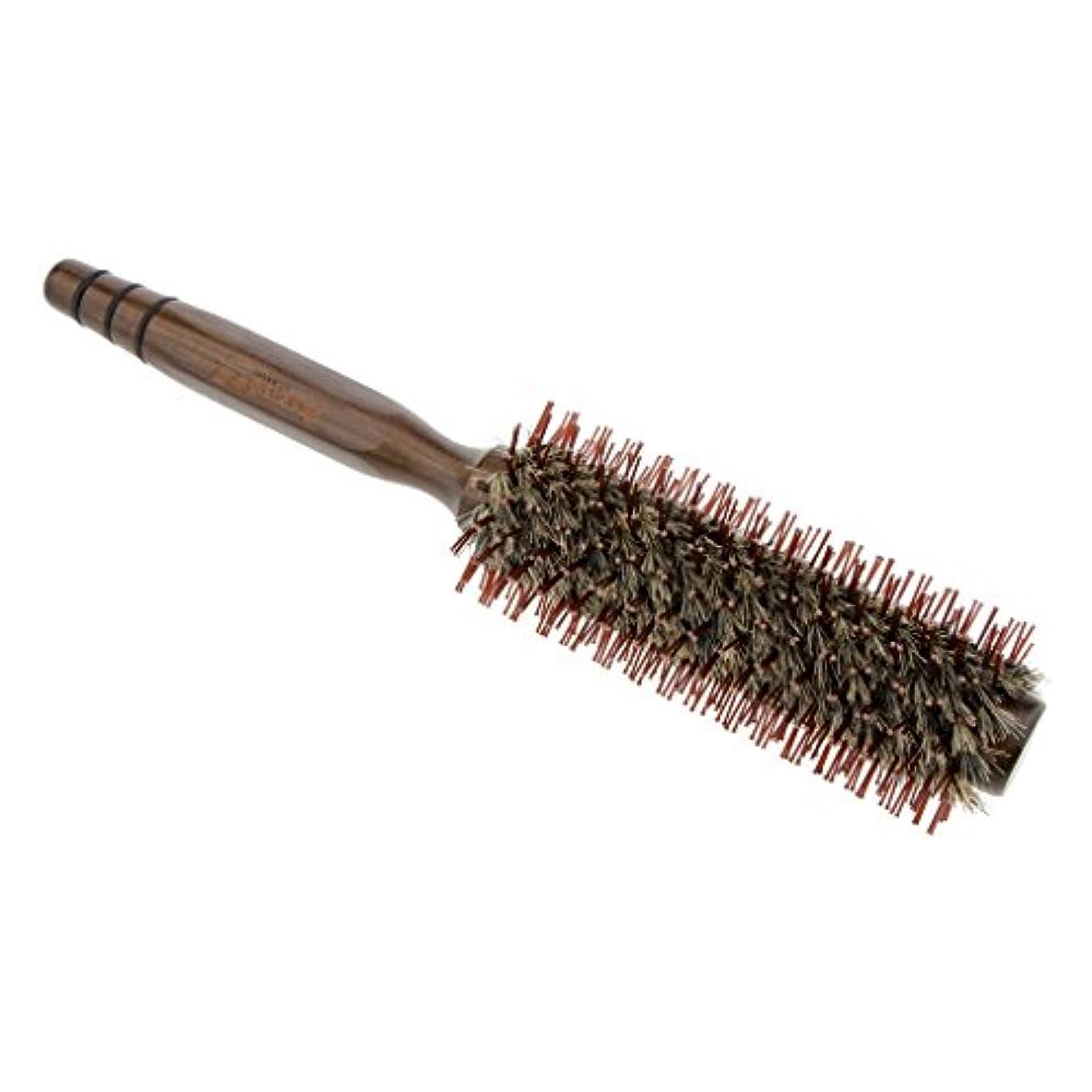 乙女適用する含むPerfk ロールブラシ ヘアコーム 木製櫛 くし ヘアスタイリング ブラシ 3サイズ - L
