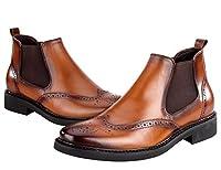 [BONGZUO] ブーツ、メンズブーツ快適なマーチンブーツカジュアルレザーレトロブーツブロックメンズシューズ、JP-D607-1 (26.0 CM, ブラウン)