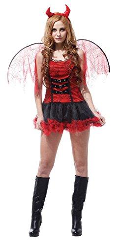 セクシー デビル 小悪魔 コスチューム セット ワンピース カチューシャ 羽根 セット レディース ワンサイズ 赤 × 黒
