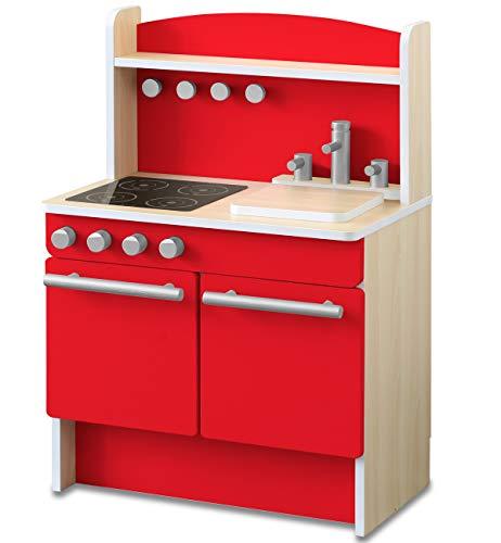 RiZKiZ おままごとキッチン おもちゃ 幅55cmx奥行き35cmx高さ80cm 木製 収納付き 安心安全設計 子供用 組立式 (単品, レッド)