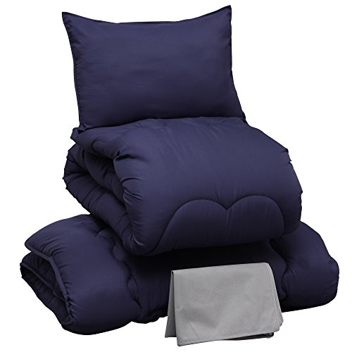 布団セット 4点セット 洗える ほこりの出にくい布団 きめ細やかなピーチスキン加工 軽量 低ホルムアルデヒド仕様 収納ケース付 シングル ネイビー