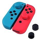 ANGPO®Joy-Con 専用カバー カバー シリコン ケース,極薄 人間工学 スイッチ ジョイコン用 アナログスティック シリコンカバ 滑り止め 耐衝撃 柔らかい手触り(1赤+1青)ボタンキャップ4(1赤+1青+2黒)