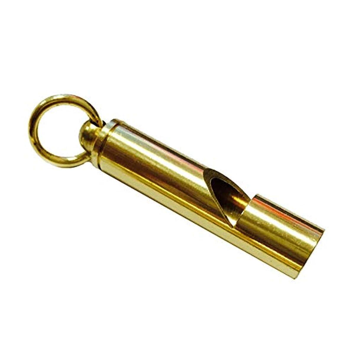 動公平幅Onior 1ピースヴィンテージ真鍮笛サバイバルホイッスル付きキーチェーンペンダント用スイミングスポーツ屋外サバイバル緊急トレーニング(ゴールデン)