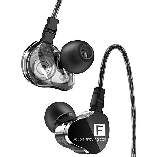 イヤホン 有線 カナル型 高音質 重低音 デュアルドライバー マイク内蔵 イヤフォン 遮音性 リモコン付き iPhone/iPad/PC/Android対応 (ブラック)