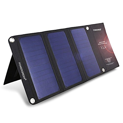 PowerGreen ソーラーチャージャー 折りたたみ式 21W 2ポート ソーラーパネル 防災 防水 非常用 スマホ用充電器 iPhone iPad Galaxy S7 など スマートフォン タブレット モバイルバッテリー 対応 ソーラー充電器 アウトドア usb充電器